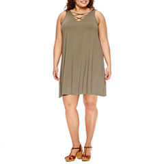 Arizona Sleeveless Casual Knit Dress - Juniors Plus