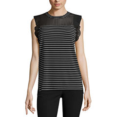 Worthington® Pleated-Sleeve Mixed Media Top