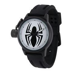 Marvel® Black Spider Mens Black Silicone Strap Crown Protector Watch