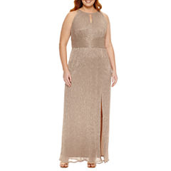 R & M Richards Sleeveless Evening Gown-Plus