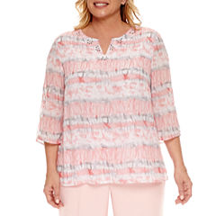 Alfred Dunner 3/4 Sleeve Split Crew Neck Woven Blouse-Plus