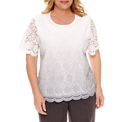Alfred Dunner Short Sleeve Crew Neck Pullover Sweater-Plus