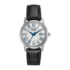 Citizen® Eco-Drive® Womens Silver-Tone Black Leather Strap Watch  EW1568-04A