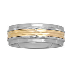 Mens 8mm Gold & Stainless Steel Band