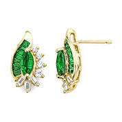 Lab-Created Emerald and White Sapphire Earrings