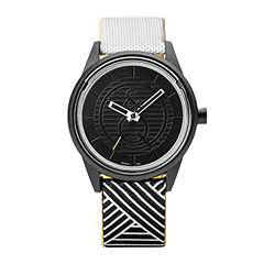 Q&Q SmileSolar White/Black Stripe Strap Watch