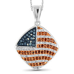 1/3 CT. T.W. White and Color-Treated Red & Blue Diamond Flag Pendant