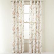 MarthaWindow™ Faded Floral Grommet-Top Sheer Panel