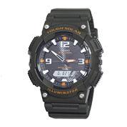 Casio® Tough Solar Sport Mens Black and Orange Multifunction Watch AQS18W-3AVCF