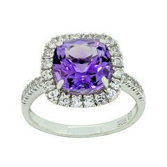 Genuine Amethyst & Lab-Created White Sapphire Ring