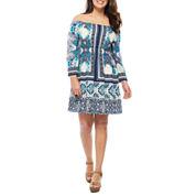 Luxology 3/4 Sleeve Peasant Dress