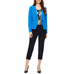Black Label by Evan-Picone Long Sleeve 1-Button Jacket or Sleeveless Leaf Print Blouse