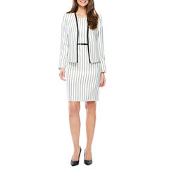 Black Label by Evan-Picone Long Sleeve Contrast Trim Jacket or Sleeveless Belted Sheath