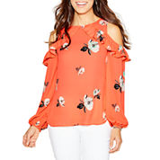 Worthington Long Sleeve Cold-Shoulder Ruffle Blouse