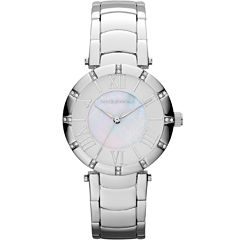 Liz Claiborne® Womens Silver-Tone Mother-of-Pearl Bracelet Watch