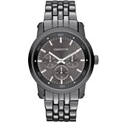 Claiborne Mens Gunmetal Multifunction Watch