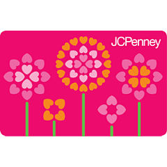 Pink Heart Flowers Gift Card