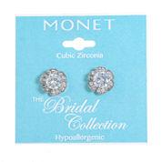 Monet Jewelry Clear Cubic Zirconia Stud Earrings