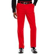 JF Stretch Red Cotton FF Pants-Slim