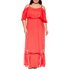 Ashley Nell Tipton for Boutique + Short Sleeve Off The Shoulder Maxi Dress-Plus