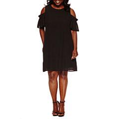 City Streets Short Sleeve Shift Dress-Plus