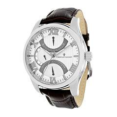 Christian Van Sant Oak Mens Champagne Dial Brown Leather Strap Watch