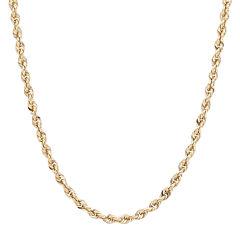 Infinite Gold™ 14K Yellow Gold Glitter Hollow Rope Chain