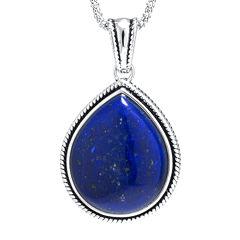 Dyed Blue Lapis Sterling Silver Teardrop Pendant Necklace