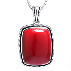 Simulated Red Jasper Sterling Silver Rectangular Pendant Necklace