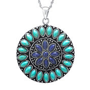 Enhanced Turquoise & Dyed Blue Lapis Sterling Silver Medallion Pendant Necklace