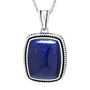 Dyed Blue Lapis Sterling Silver Rectangular Pendant Necklace