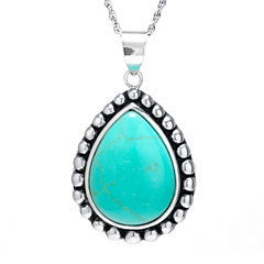 Simulated Turquoise Sterling Silver Pendant Necklace