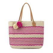 Olivia Miller Poppy Multi Striped Straw Tote Bag