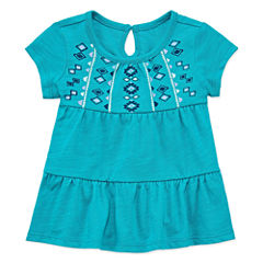 Arizona Short Sleeve Babydoll Top - Baby Girls