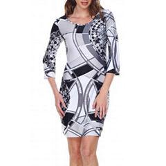 White Mark Nikki 3/4 Sleeve Sheath Dress
