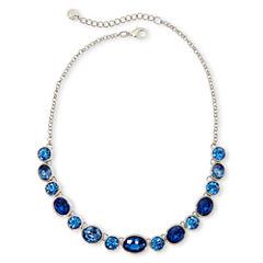 Monet® Silver-Tone Blue Stones Collar Necklace
