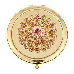 Monet® Gold-Tone & Pink Flower Mirror Compact