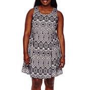 My Michelle® Sleeveless Bonded Lace Skater Dress - Juniors Plus