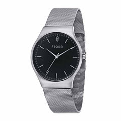 Fjord Mesh Band Mens Silver Tone Expansion Watch-Fj-3026-11
