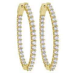 4 CT. T.W. White Diamond 10K Gold Hoop Earrings