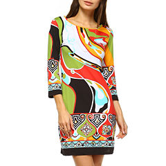 White Mark Abstract Wave 3/4 Sleeve Sheath Dress