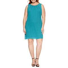 Worthington Sleeveless Pleat Neck Shift Dress-Plus