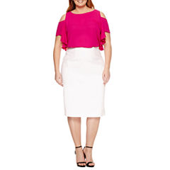 SHORT SLEEVE COLD SHOULDER RUFFLE BLOUSE, EXPOSED SIDE ZIP PENCIL SKIRT