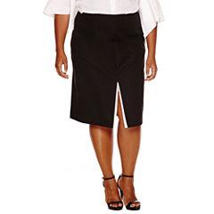 Worthington® Double Slit A-Line Skirt-Plus