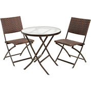 Caracas 3-pc. Wicker Outdoor Folding Table and Chair Set