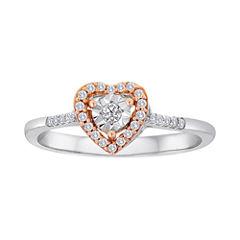 1/8 CT. T.W. Diamond Two-Tone Heart Ring
