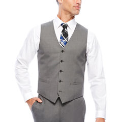 J.Ferrar Stretch Gray Sharkskin Slim Fit Vest