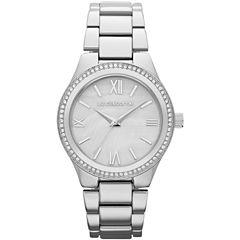 Liz Claiborne® Womens Silver-Tone Crystal-Accent Boyfriend Watch