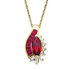 Lab-Created Ruby and White Sapphire 14K Gold Over Sterling Silver Pendant