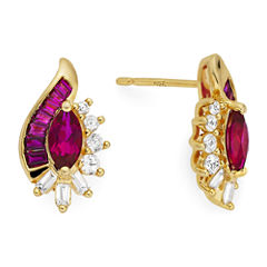 Lab-Created Ruby and White Sapphire 14K Gold Over Sterling Silver Earrings